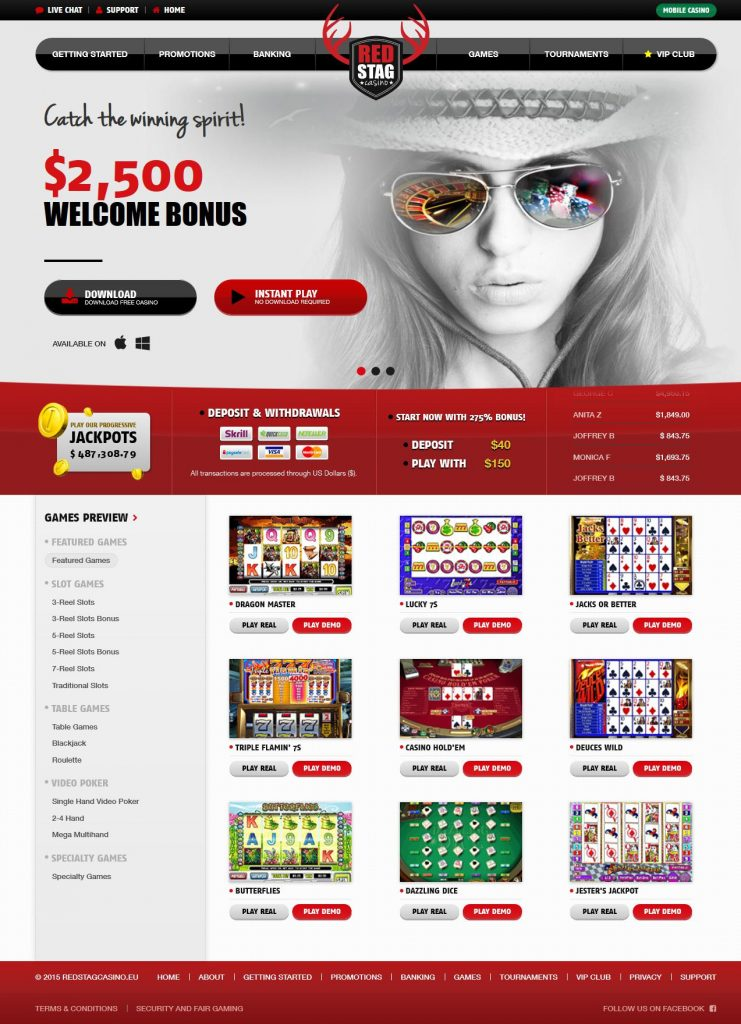 Red Stag Casino Online Review With Promotions & Bonuses