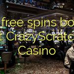 165 free spins bonus at CrazyScratch Casino