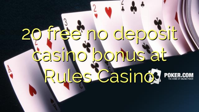 20 Frítt Nei Innborgun spilavíti bónus á reglum Casino