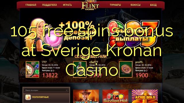 105 pulsuz Sverige Kronan Casino bonus spins