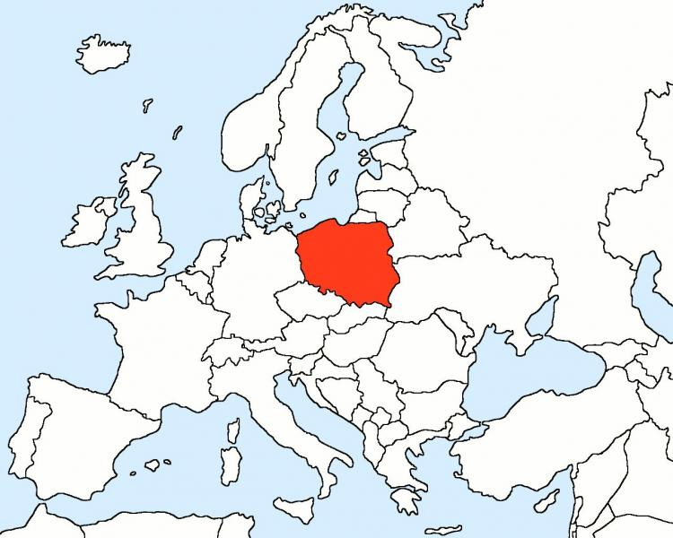 Poland on the map of Europe