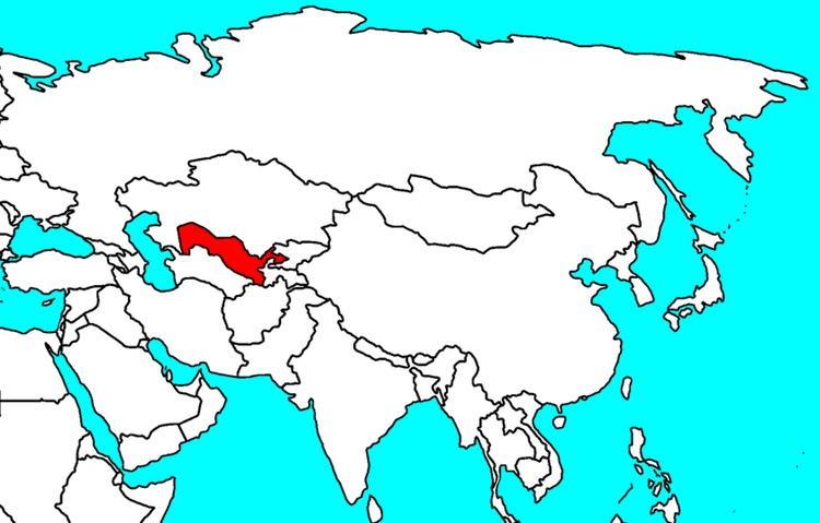 Uzbekistan on the Asian map