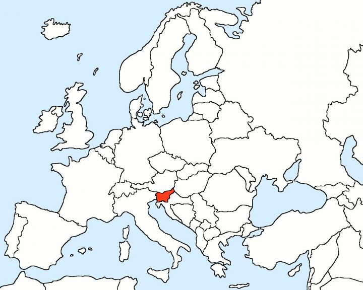 Slovenia in map of Europe