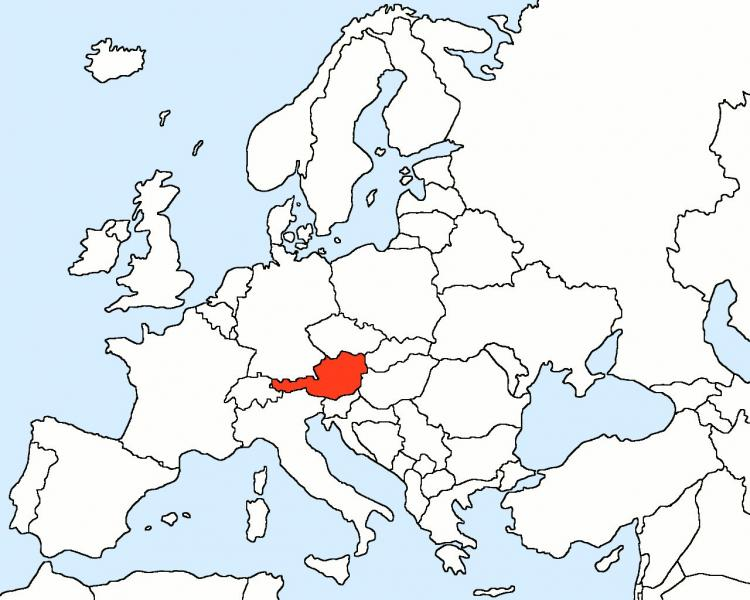 In Austria map of Europe