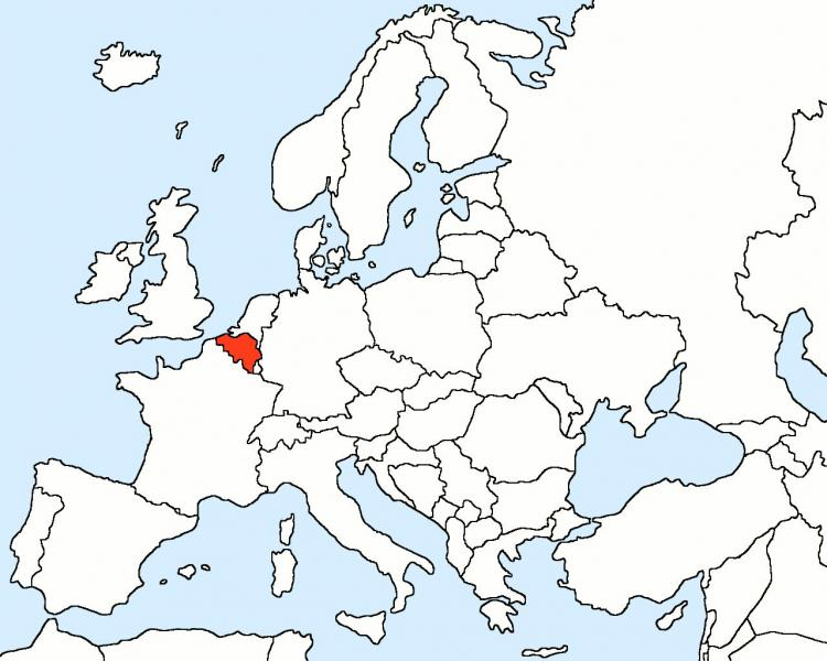 Belgium na map nke Europe