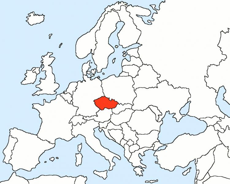 Czech Republic on the map of Europe