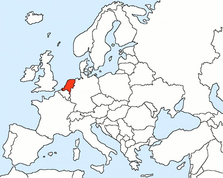 Holland on map of Europe