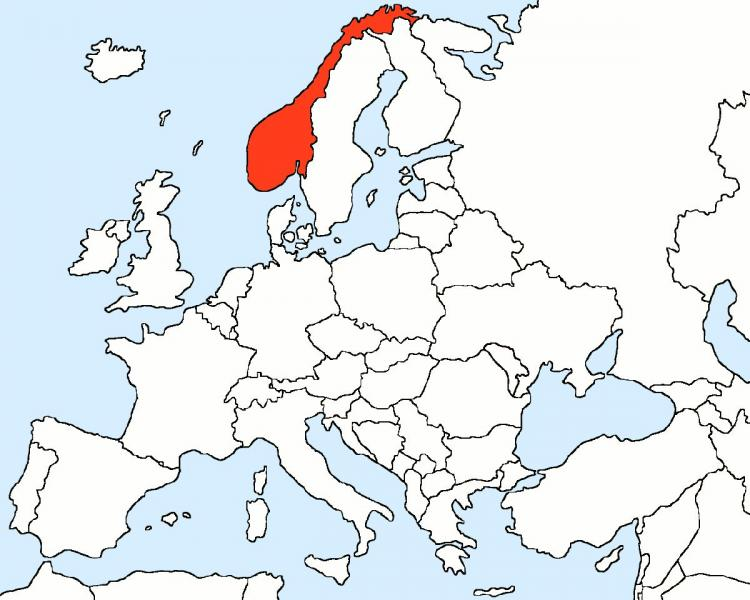 Norway in map of Europe