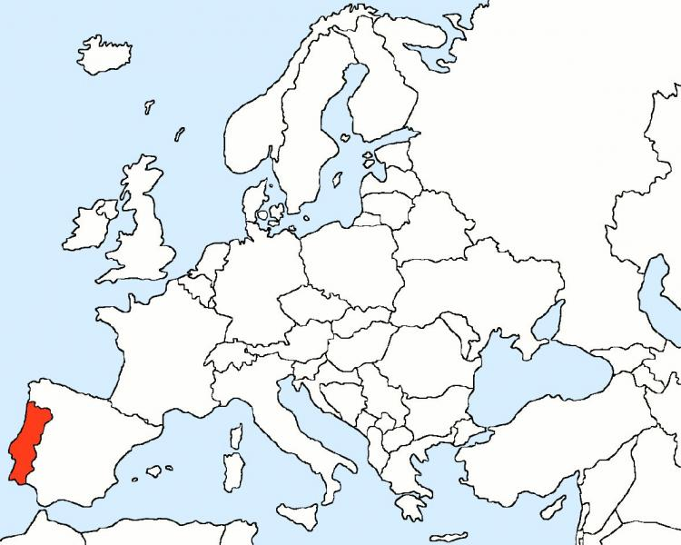 Portugal sur la carte de l'Europe