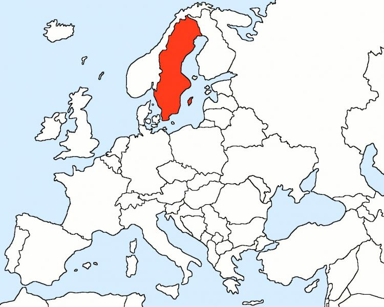 Sweden na map nke Europe