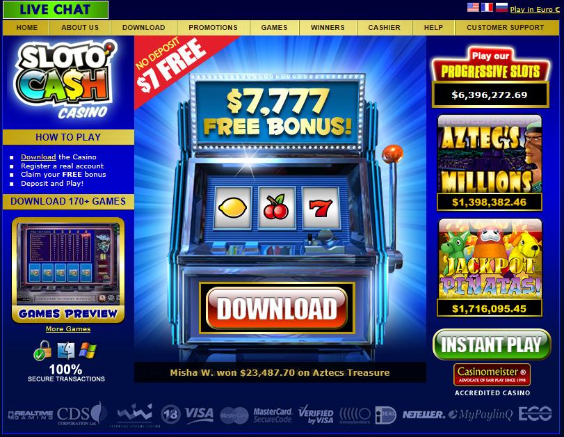 SlotoCash Casino Homepage