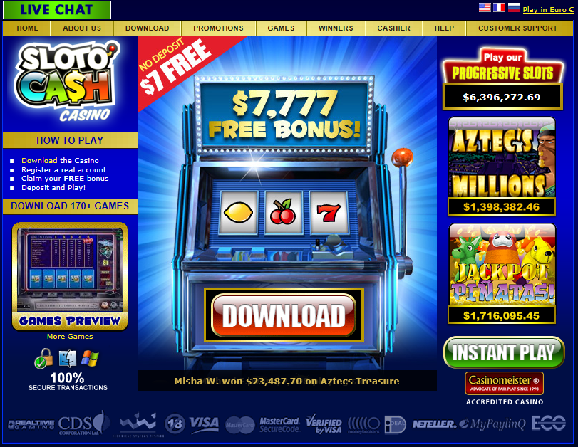 Homepage tal-Casino SlotoCash